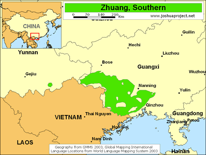 Map of Zhuang, Yang in China