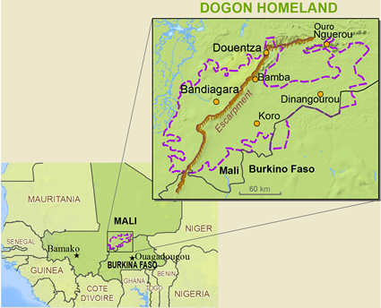 Map of Dogon, Toro Tegu in Mali