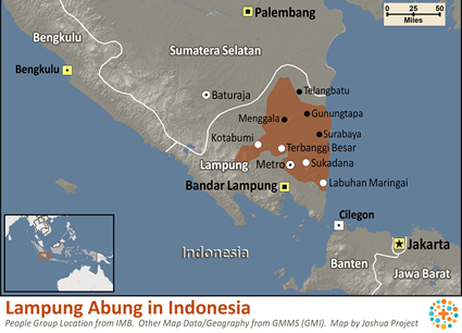 Map of Lampung Abung in Indonesia