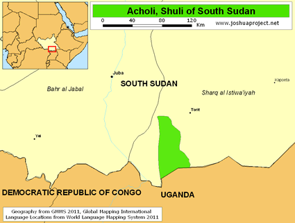 Map of Acholi, Shuli in South Sudan