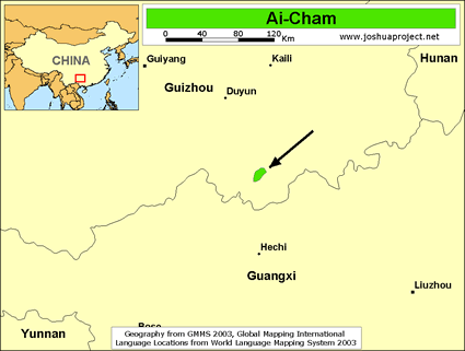 Map of Ai-Cham in China