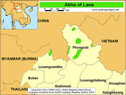Map of Akha in Laos