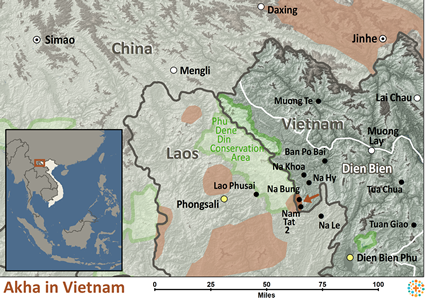 Map of Akha in Vietnam