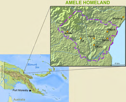 Map of Amele in Papua New Guinea