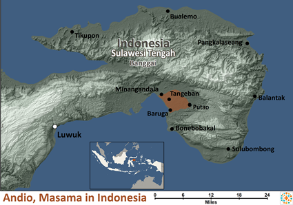 Map of Andio, Masama in Indonesia