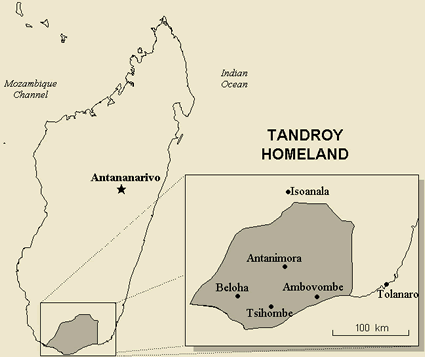 Map of Antandroy in Madagascar