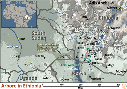 Map of Arbore in Ethiopia