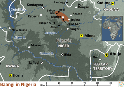 Map of Baangi in Nigeria