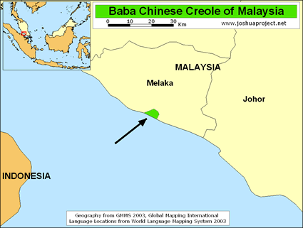 Map of Straits Chinese, Baba Creole in Malaysia