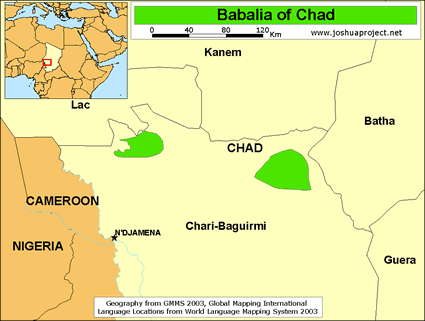 Map of Babalia in Chad