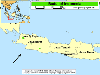 Map of Baduy in Indonesia