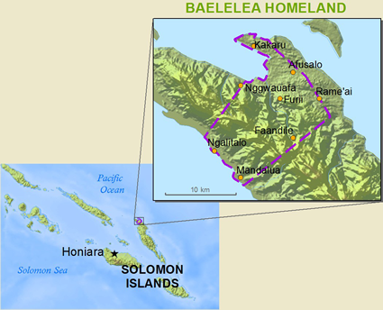 Map of Baelelea in Solomon Islands