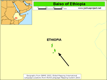 Map of Baiso, Gedicho in Ethiopia