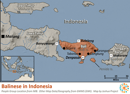 Map of Balinese in Indonesia