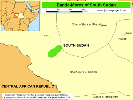 Map of Banda-Mbres in South Sudan