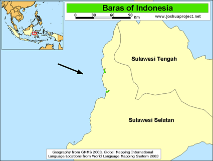 Map of Baras in Indonesia