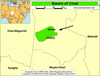 Map of Barein in Chad