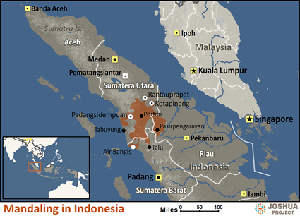 Map of Mandailing in Indonesia