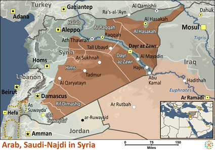 Map of Arab, Saudi - Najdi in Syria