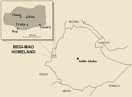 Map of Hozo in Ethiopia