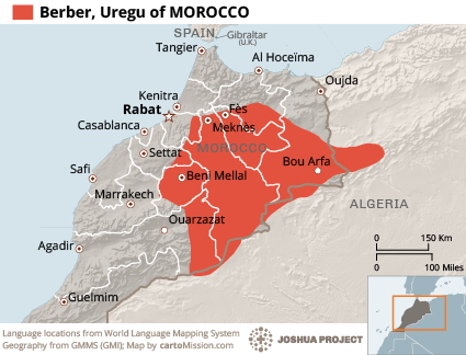 Map of Berber, Uregu in Morocco