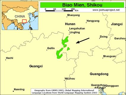 Map of Biao Mien, Shikou in China
