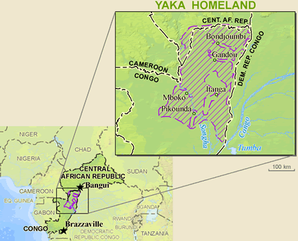Map of Pygmy, Bayaka in Congo, Republic of the