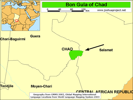 Map of Bon Gula in Chad