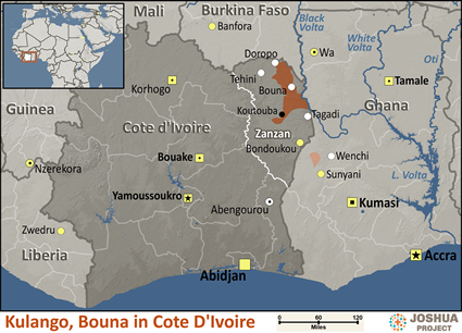 Map of Kulango, Bouna in Côte d'Ivoire