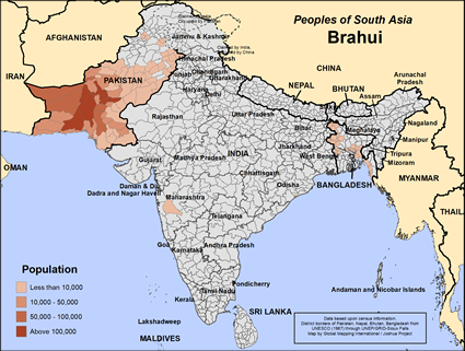 Map of Brahui in Pakistan
