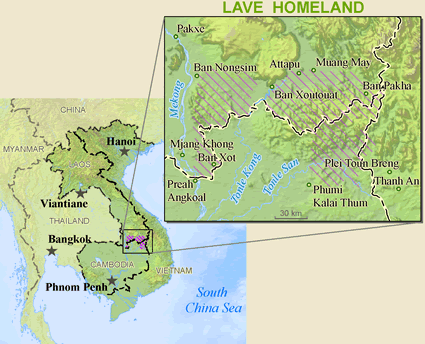 Map of Brao in Laos