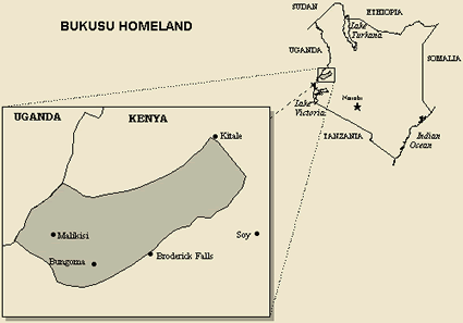 Map of Luhya, Bukusu in Kenya