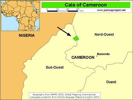Map of Cala in Cameroon