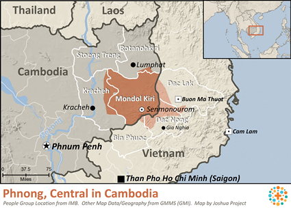 Map of Mnong, Central in Cambodia