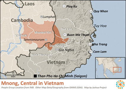 Map of Mnong, Central in Vietnam