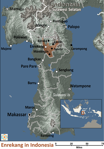 Map of Enrekang in Indonesia
