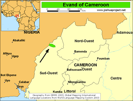 Map of Evand in Cameroon