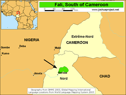 Map of Fali, South in Cameroon