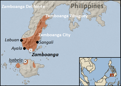 Map of Chabakano Creole in Philippines