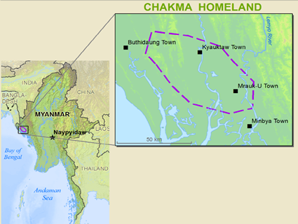Map of Chakma, Daingnet in Myanmar (Burma)