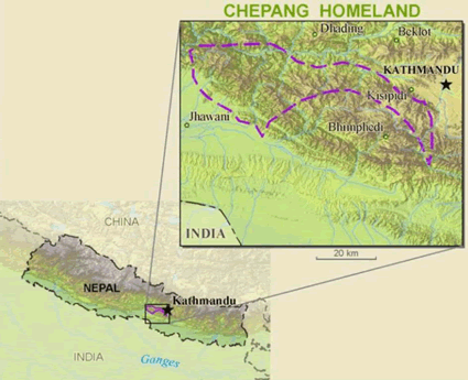 Map of Chepang, Tsepang in Nepal