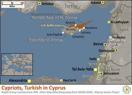 Map of Cypriots, Turkish in Cyprus