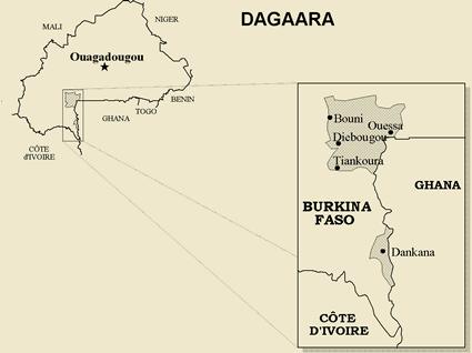 Map of Dagara in Burkina Faso