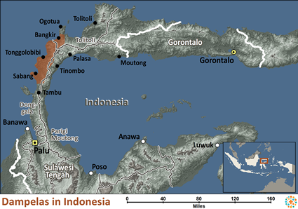 Map of Dampelas in Indonesia