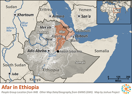 Map of Afar in Ethiopia