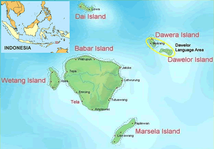 Map of Davelor in Indonesia
