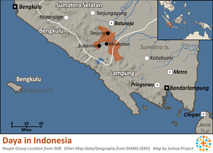 Map of Daya in Indonesia