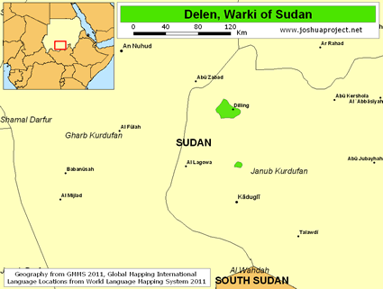 Map of Delen, Warki in Sudan