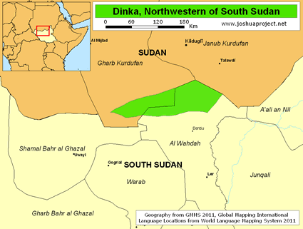 Map of Dinka, Northwestern in South Sudan