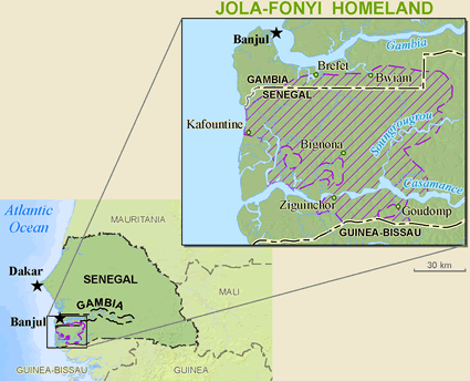 Map of Jola-Fonyi in Senegal